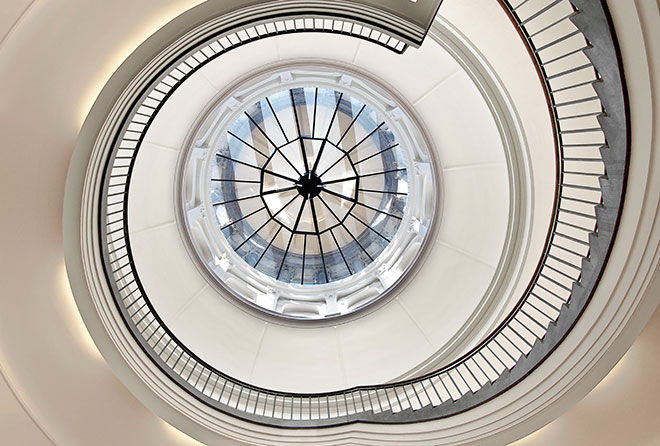 Museum Berggruen interior, rotunda spiral staircase. Photo: H.C. Krass